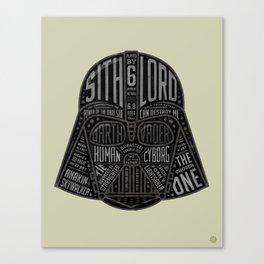 Darth Vader Helmet Typographic Design Chock full of trivia! Canvas Print