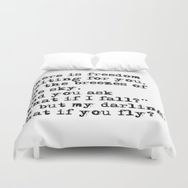 What if you fly? Vintage typewritten Duvet Cover