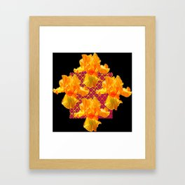 Golden Spring Iris Patterned Black  Decor Framed Art Print
