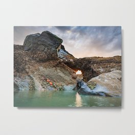 The Sun Sets Behind a Cape Blanco Tide Pool Full of Starfish and Anemones Metal Print