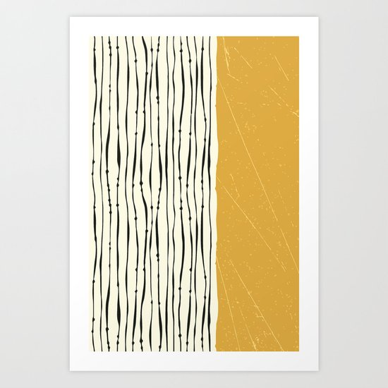 Gold Zebra Stripes Art Print