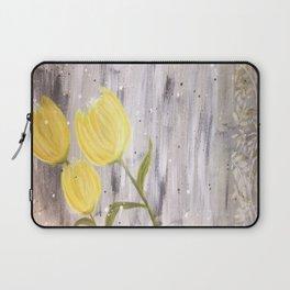 Yellow Tulips in Grey Laptop Sleeve
