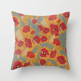 Mod Floral, Poppies in Red and Yellow Throw Pillow