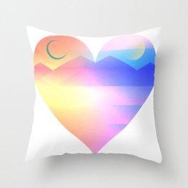 Sunset Heart Throw Pillow