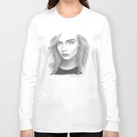 cara delevingne Long Sleeve T-shirts featuring Cara Delevingne by Giorgio Arcuri