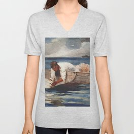 The Water Fan 1899 By WinslowHomer | Reproduction Unisex V-Neck