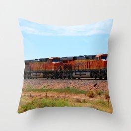 Orange BNSF Engines Throw Pillow