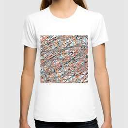 Two Shade Pink Blue Brown Scribble T-shirt
