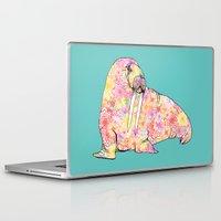 walrus Laptop & iPad Skins featuring Aqua Walrus by Supermaggie