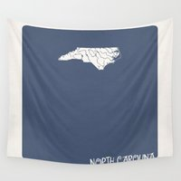 north carolina Wall Tapestries featuring North Carolina Minimalist Vintage Map by Finlay McNevin