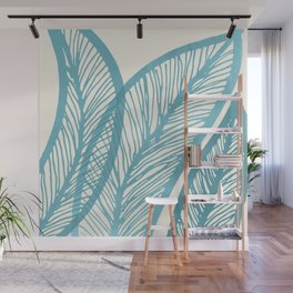 Blue Banana Leaf Wall Mural
