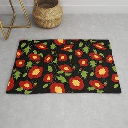 Papercut Poppies - Black Rug