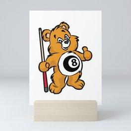 BILLIARD TEDDY Snooker Pool Billiards Cue Mini Art Print