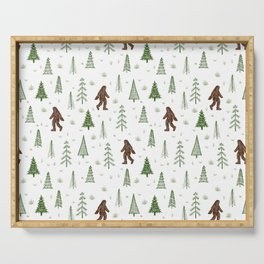 trees + yeti pattern in color Serving Tray