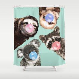 Cute Animals Bubble Gum Gang in Green Shower Curtain