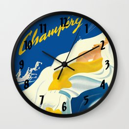 Vintage Champery Switzerland Travel Wall Clock