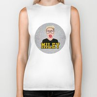 miley cyrus Biker Tanks featuring Miley Cyrus by Jessica Guetta