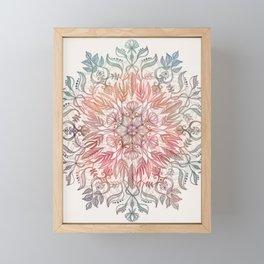 Autumn Spice Mandala in Coral, Cream and Rose Framed Mini Art Print