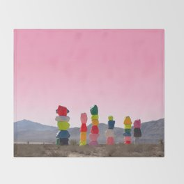 Seven Magic Mountains with Pink Sky - Las Vegas Throw Blanket