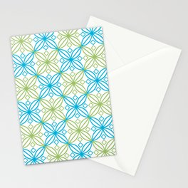 Blue and green abastract circles pattern Stationery Cards