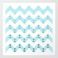 anchors Art Prints featuring Anchors by Mercedes