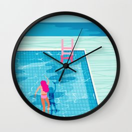 In Deep - memphis throwback swimming athlete palm springs resort vacation country club infinity pool Wall Clock