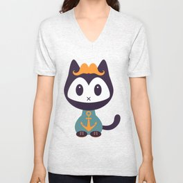 Cute kitten in t-shirt with anchor Unisex V-Neck