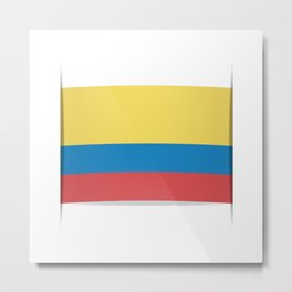 Flag of Colombia. The slit in the paper with shadows. Metal Print