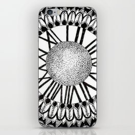 Time and Space Zoomed in Black, Grey, and White Mandala iPhone Skin