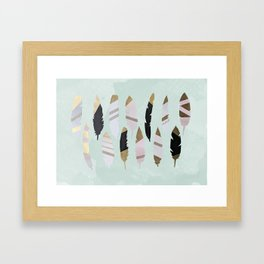 Gold Tipped Feathers Framed Art Print