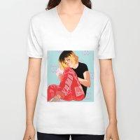 haikyuu V-neck T-shirts featuring Neko by JohannaTheMad
