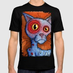 zombie cat Black LARGE Mens Fitted Tee
