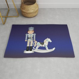 Toy Soldier with Rocking Horse on Christmas Eve Rug
