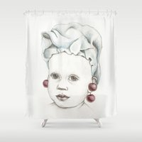 cherry Shower Curtains featuring Cherry by VicFreyd