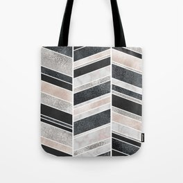 Shimmering Chevron Pattern - white pearl marble, silver and black Tote Bag