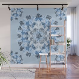 Crystals Succulents Mandala BLUE Wall Mural