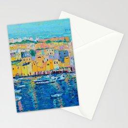 Fishing Boats of Genoa - palette knife city landscape Italy by Adriana Dziuba Stationery Cards