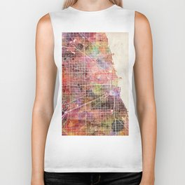 Chicago map Biker Tank