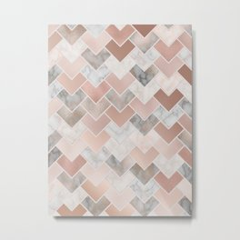 Rose Gold and Marble Geometric Tiles Metal Print