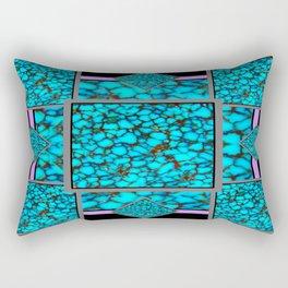 Western  Black-Purple Turquois Birthstone  Inlay Design Rectangular Pillow