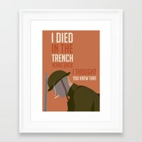 boardwalk empire Framed Art Prints featuring Boardwalk Empire 'Trench' by JDGC