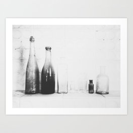Bottles.Black and white.Abstrat photo Art Print