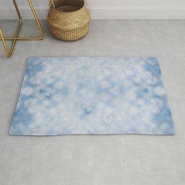 Blue white sparkles bokeh abstract Rug