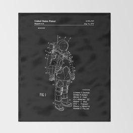 NASA Space Suit Patent - White on Black Throw Blanket