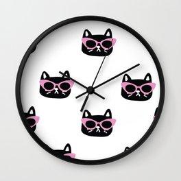 Sassy cat head in 50s sunglasses Wall Clock