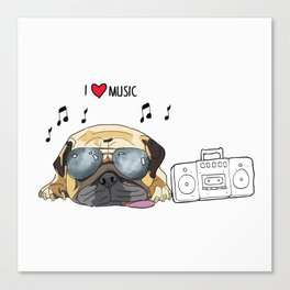 I love music-rock pug Canvas Print