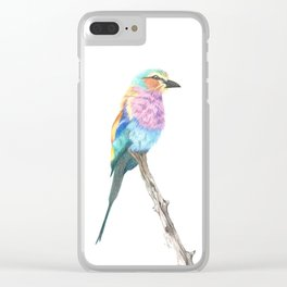 Lilac Breasted Roller - Colored Pencil Clear iPhone Case