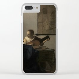 """Johannes Vermeer """"Woman with a Lute near a Window"""" Clear iPhone Case"""