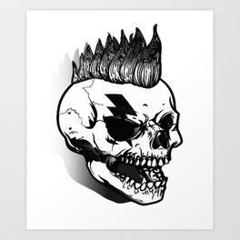 Anarchist skull art, custom gift design Art Print