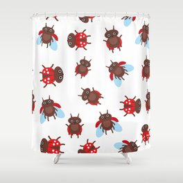 Funny insects ladybugs pattern on white background Shower Curtain